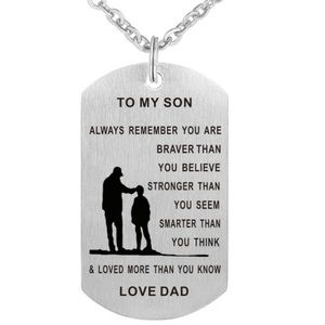 To My Son or Daughter Stainless Steel Necklace Boutique